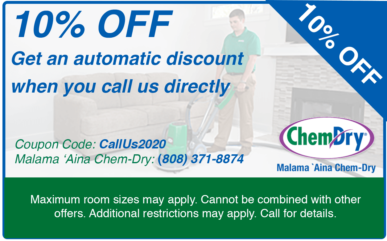 10% off automatic discount when call us directly for carpet spot removal kapolei